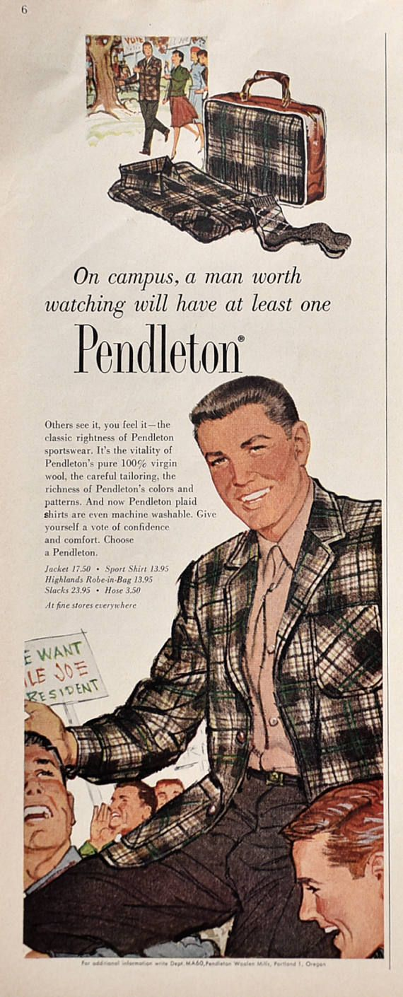 1960 Men's Pendleton Shirt Ad   |  #RetroReveries