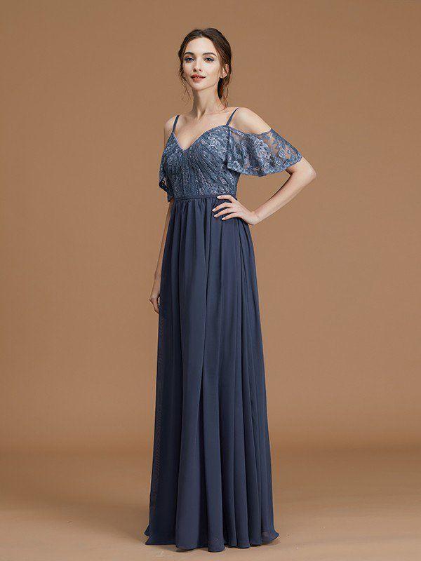 1f9d1fc876d8 A-Line Princess Spaghetti Straps Sleeveless Floor-Length Lace Chiffon  Bridesmaid Dresses