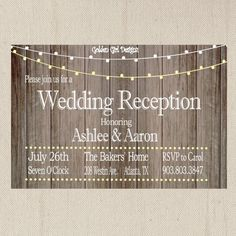 Vintage Lights Wedding Reception Invitation On Wooden Background Only Rustic