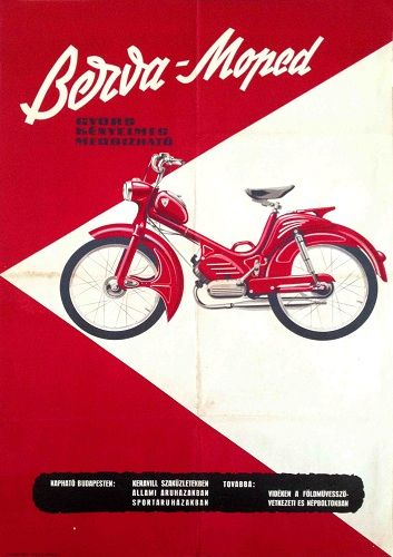 Bezva moped Hungarian poster 1990. Artist unknown.