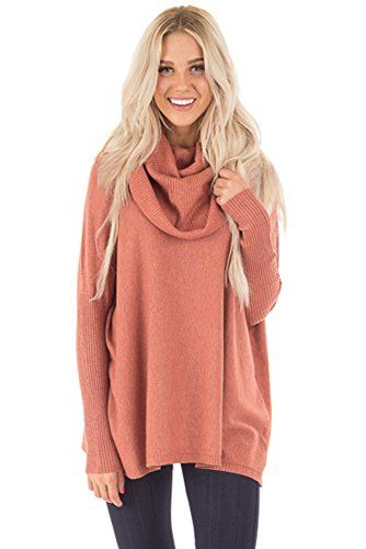 Vivahouse Women s Oversize Cowl Neck Long Sleeve Loose Knit Pullover  Sweater Knitwear (X-Large f47ab5d8f