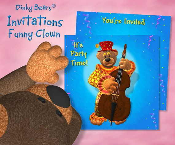 Dinky Bears - Clown Playing Contrabass Invitation - Digital Download  by DinkyPrints