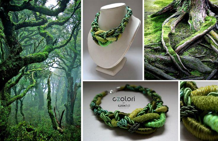 Nature inspired twisted yarn jewellery by Czolori http://czokildihu.bigcartel.com/