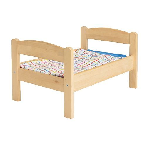 I want this for stitch :D IKEA DUKTIG Doll's bed with bedlinen set Pine/multicolour Encourages make-believe play.