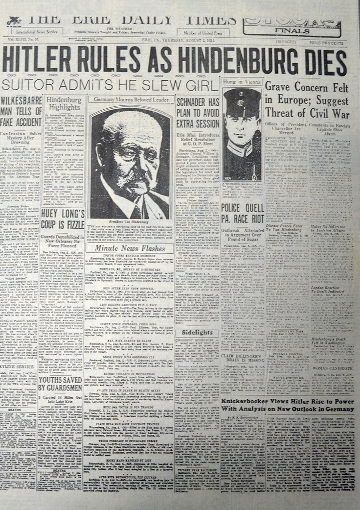 did hitler establish dictatorship germany august 1934 How was hitler able to establish a dictatorship to establish a dictatorship by 1934 students will interrogate the chronology of events in germany from the.