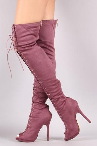 62ef038658b Liliana Suede Lace Up Stiletto Heeled Over-The-Knee Boots