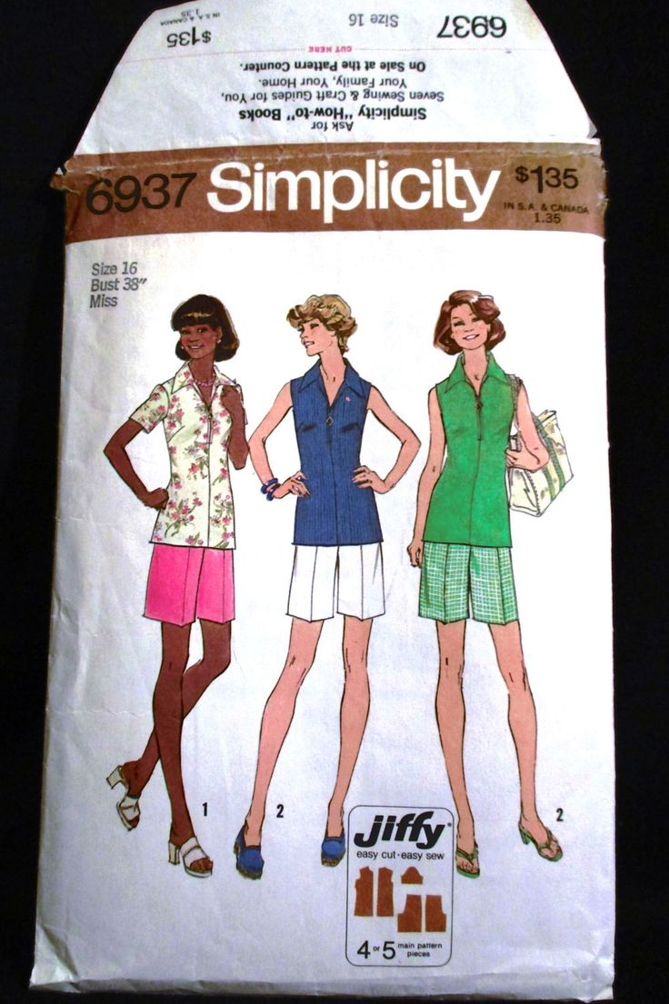 Vintage 70s Shirt Blouse Zip Front Top & Shorts Simplicity Pattern 6937 Size 16 Jiffy Sew Summer Wardrobe Retro Misses Womens Ladies Bust 38 by RuthsGreenTreasures on Etsy