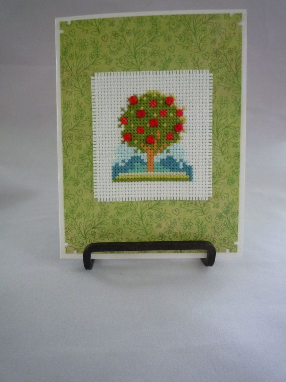 Red blossom tree hand stitched card by HMCrafters on Etsy, $6.00