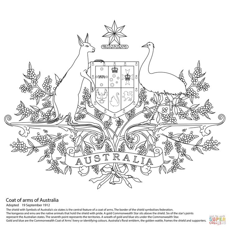 Australian Coat Of Arms Coloring Page From Australia Category Select 27298 Printable Crafts Cartoons Nature Animals Bible And Many More
