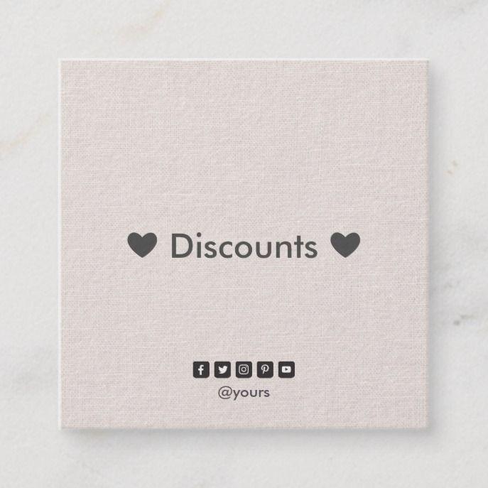 Professional Minimalist Linen Discount Coupon Square Business Card Zazzle Com In 2020 Square Business Card Professional Business Cards Business Cards