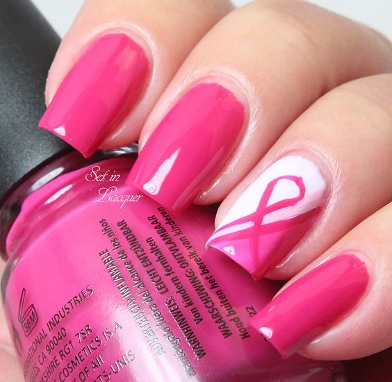 breast cancer nails ideas
