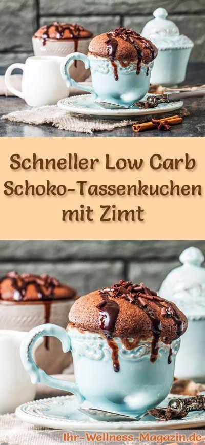 Rezept für einen Low Carb Schoko-Tassenkuchen mit Zimt - kohlenhydratarm, kalorienreduziert, ohne Zucker und Getreidemehl
