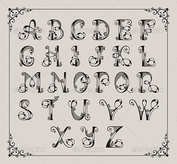 girlie Letter Designs | Calligraphic Alphabet - Decorative Symbols Decorative