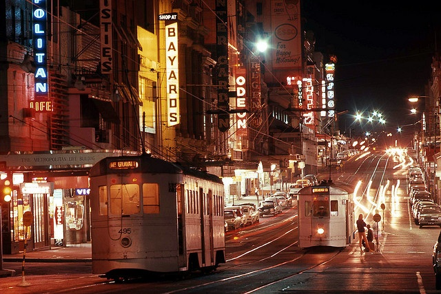Brisbane Four Motor Trams 495 and 512 in Queen Street at Edward Street, Brisbane, Queensland, Australia - Night Time. by express000, via Flickr