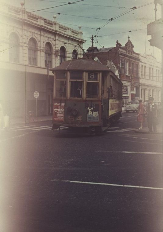 Tram turning from Hay Street into Milligan Street, 1958. Perth Western Australia