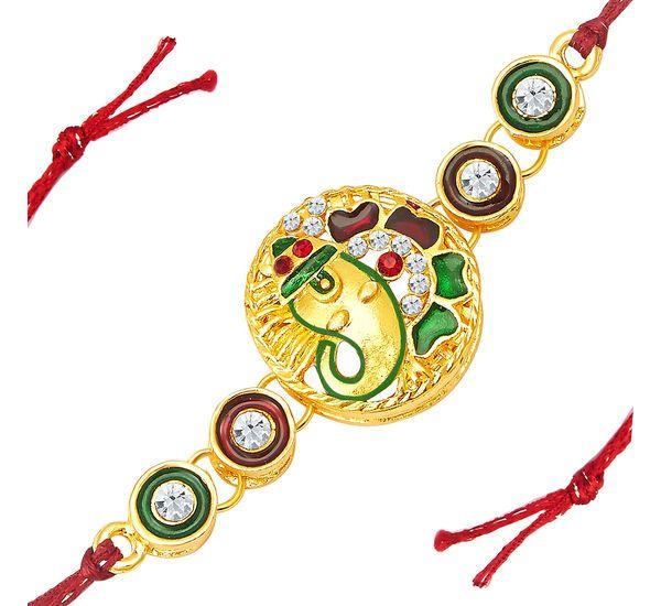 Shop Now- http://www.sukkhi.com/jewellery-imitation-online/sukkhi-lord-ganesh-gold-plated-designer-meenakari-rakhi/p-8072635-33486551914-cat.html#variant_id=8072635-33486551914 Make this rakshabandhan more special for your loved ones by sending a gift just like Sukkhi #Lord #Ganesh Gold Plated Designer #Meenakari Rakhi. #Rakhi #Quotes #Rakshabandhan #Shopping #Festivals #Family #Gifts #Lifestyle #Siblingslove #India #online #shopping