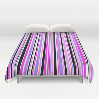 Candy Stripe 3 Duvet Cover - $99.00.  Cover yourself in creativity with our ultra soft microfiber duvet covers. Hand sewn, these lightweight.  #duvet #duvetcover #bedding #bed #dorm #homedecor #candystripe #stripes #pink #purple #mauve #black