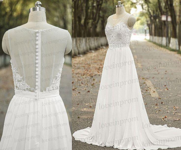 Vintage cap sleeve wedding dress,handmade white/ivory chiffon bridal gowns,sweet train women wedding dress by loveinprom on Etsy https://www.etsy.com/listing/232339180/vintage-cap-sleeve-wedding-dresshandmade