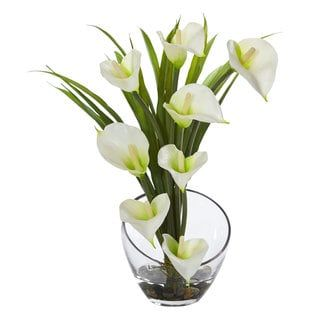 """15.5"""" Calla Lily and Grass Artificial Arrangement in Vase 