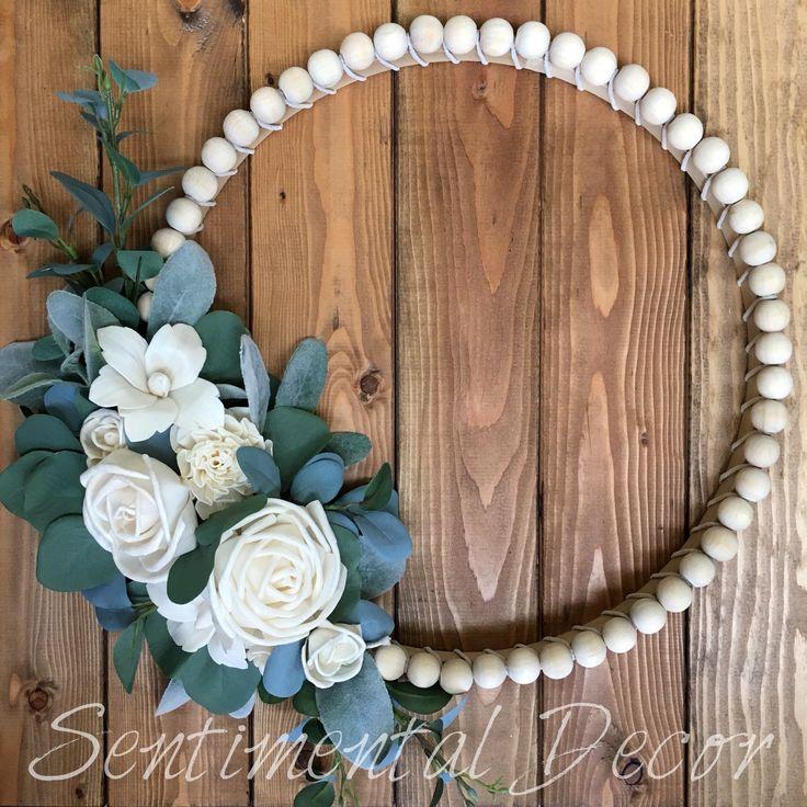 Wood Bead Wreath With Sola Wood Flower Embroidery Hoop