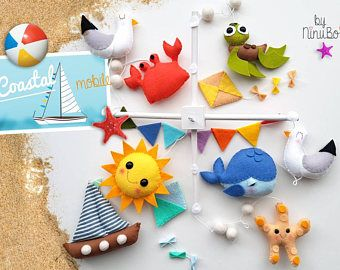 -Playa - mar criaturas móviles - océano móvil - ballena móvil - móvil de playa para bebés