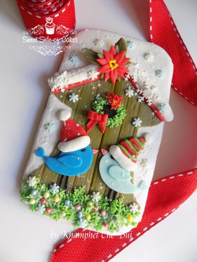 Christmas Love Birds @Advent Calendar 2016 Collaboration - Cake by Sweet Side of Cakes by Khamphet