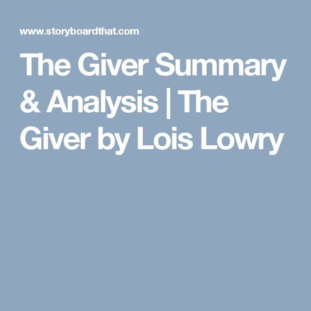a summary of the giver by lois lowry A complete summary of the giver the giver is a novel written by award-winning author lois lowry which was published in 1993 before publishing the giver, she won a newbery medal for her novel number the stars.