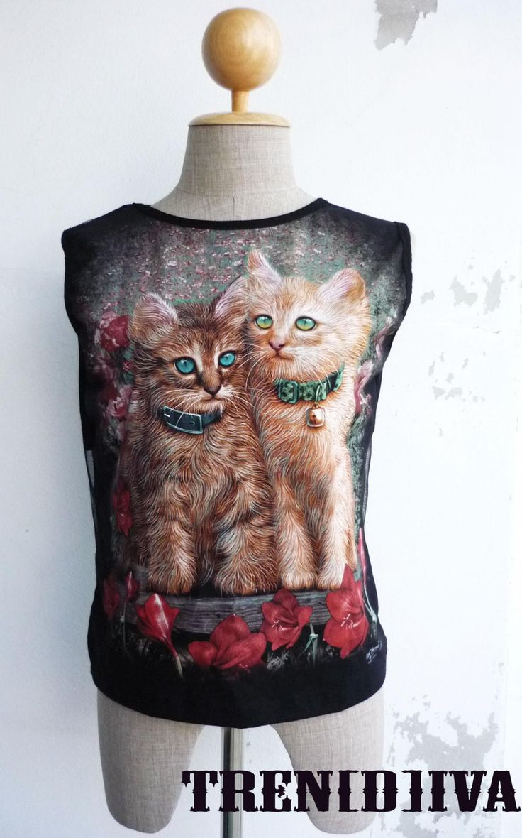 The Cat Sleeveless Back See Through Cool T-Shirt