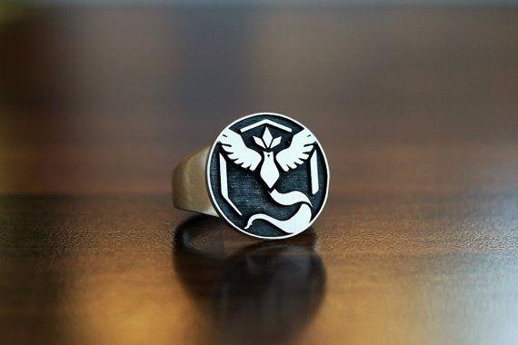 Pokemon Ring - Team mystic - Team mystic - Pokemon go - Jewelry - Pokemon Jewelry - Silver ring - Gaming ring - Engraved ring