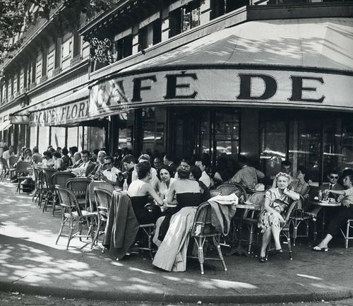 Cafe de Flore, Saint-Germain-des-Prés, Paris, 1952,