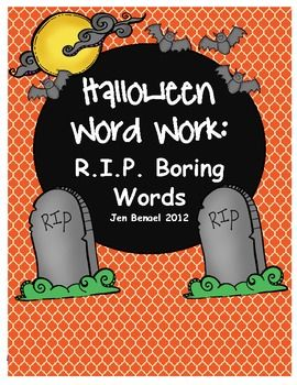 Put to rest 32 boring words with these cute printables.  2 cover pages, 7 suggested activities and 1 class game that is super fun!Student, Descriptive Words, Words Work, Halloween Words, Word Work, Words Book, Resources Include, Include 32, Notice Descriptive