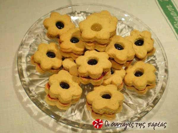 Μπισκότα γεμιστά με μαρμελάδα δαμάσκηνο #sintagespareas #mpiskotagemista