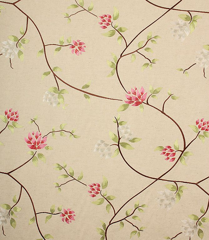 Great designer clearance fabric from Lorient Decoration at an amazing price! Very pretty delicate embroidered floral fabric. Coordinates with Akemi, Rihana and Alcazar.