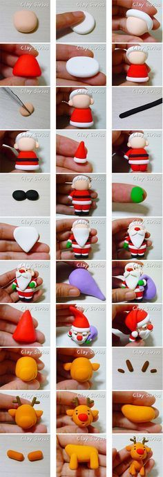 Weihnachtsmann und RentierHow to make a Christmas cake and cupcake topers: Santa and Rudolph the Reindeer