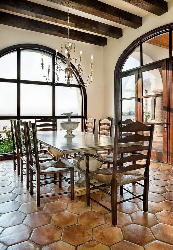 spanish style dining room with exposed beams and terracotta tile agape home interior designs. Black Bedroom Furniture Sets. Home Design Ideas