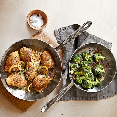 All-Clad d5 Stainless-Steel French Skillets #williamssonoma