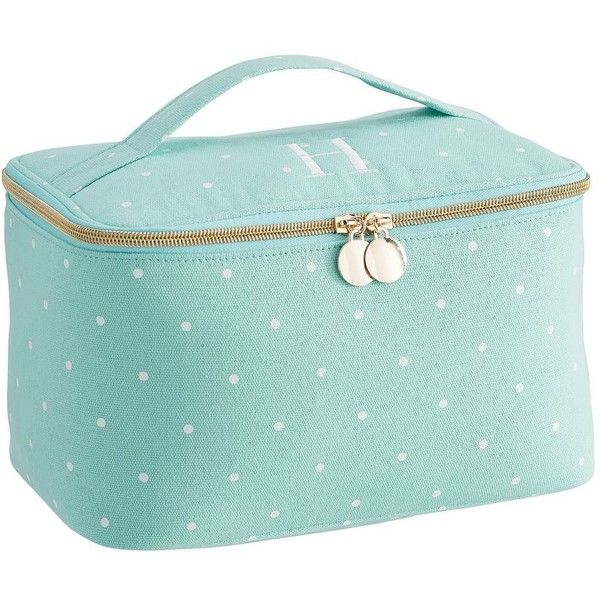 PB Teen Sleepover Pool Pin Dot Large Makeup Case ($34) ❤ liked on Polyvore featuring beauty products, beauty accessories, bags & cases, makeup bag case, make up bag, travel bag, cosmetic bag and toiletry bag