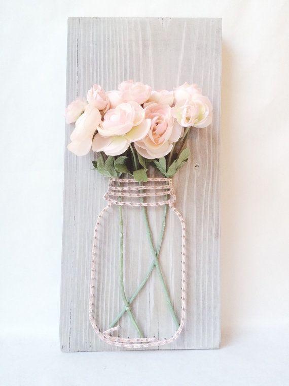 Tarro de masón cadena arte, arte de la cadena, una decoración de boda rústica, decoración de la boda, decoración casera, decoración de la pared