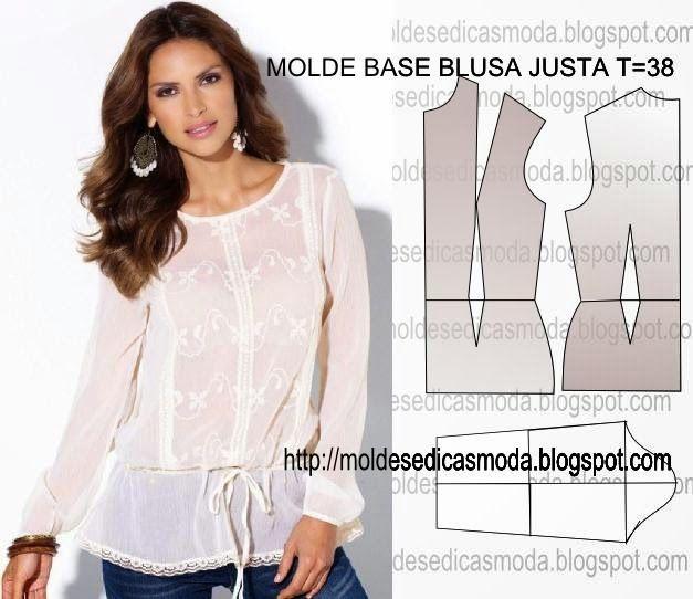 MOLDE BLUSA BASE RAZONABLE TAMAÑO 38 ~ Fashion Moldes para Medir