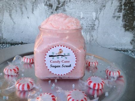 Candy cane sugar scrub with real candy canes. So cute!
