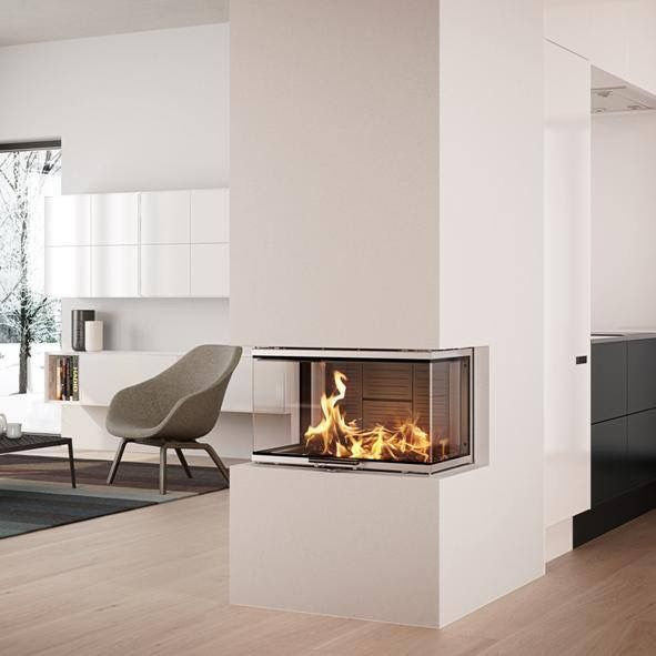 Visio 3 Peninsular Inset Fireplace 7kw.  The sublime and elegant Visio 3 is the closest you can get to an invisible stove - all you see is the fire.