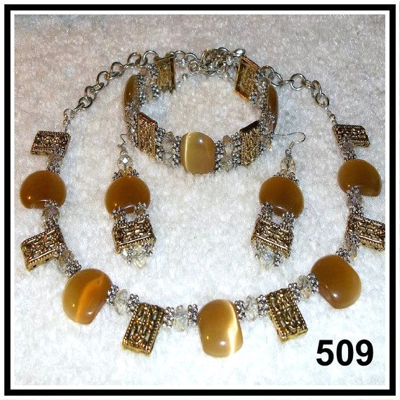 Honey Colored Mexican Opals Tibetan Silver & by CrystalsAndLight, $35.00