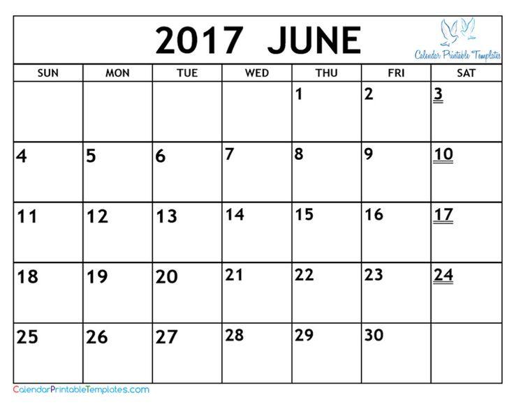 2017 june calendar landscape format photo