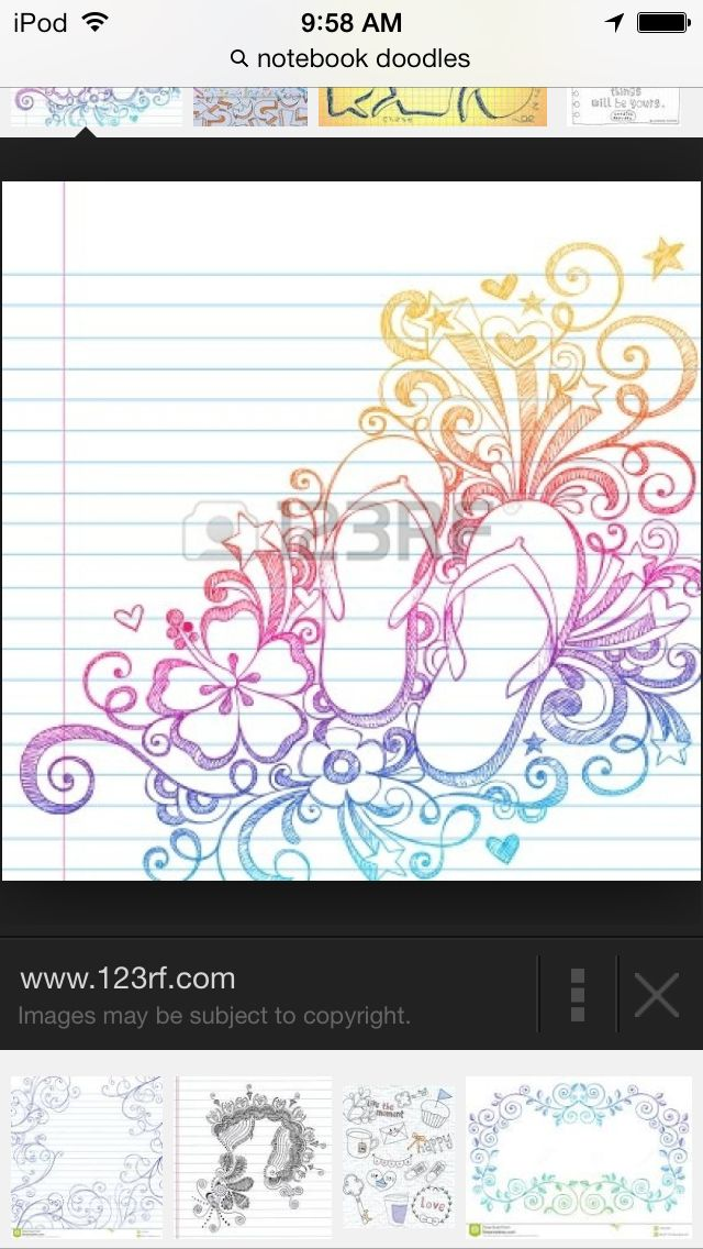 Pretty rainbow doodle with flip flops