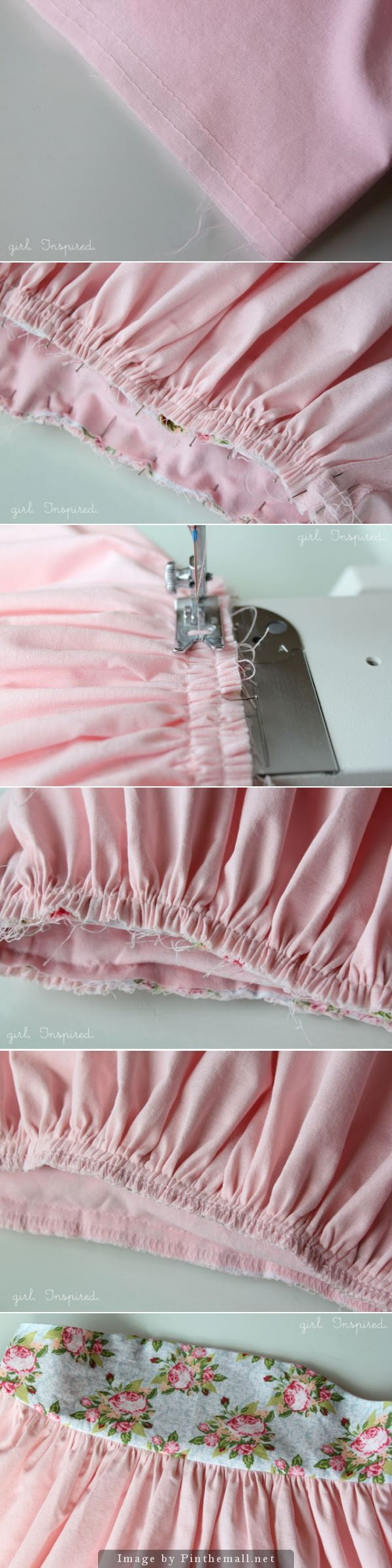 How to make a tidy business of your gathered skirt: Stefanie's method for beautiful gathers. Baste twice and line up your needle so that you can stitch directly in the center of your two rows of gathering stitches, which you remove once skirt is sewn to the bodice. Step by step: gathering your ruffles, pinning, sewing to bodice (or waist band) and serging. ~~ http://www.projectrunplay.com/2012/10/guest-judge-stefanie-from-girlinspired.html