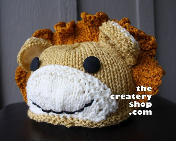 Knitting Patterns For Baby Animals : Knitting Pattern Baby Lion Animal Hat PDF by createry on Etsy, USD5.99 Baby k...