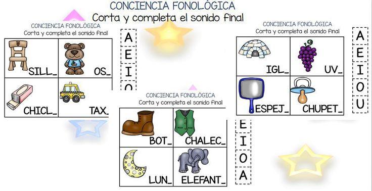 Conciencia fonológica vamos a Jugar con el Sonido Final VOCAL