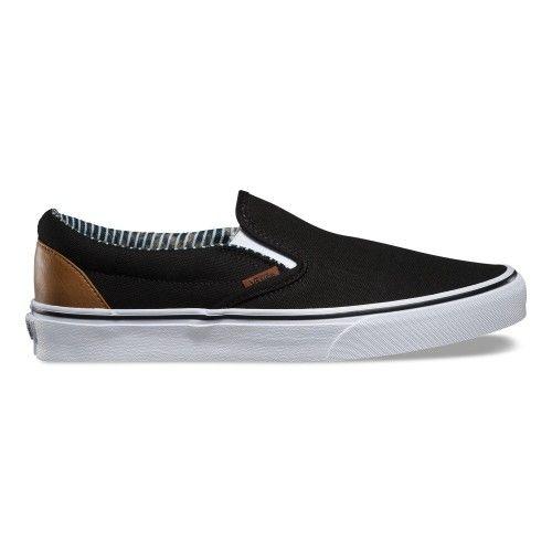Classic Slip-On C&L Black Stripe Denim Shoes for men by Vans