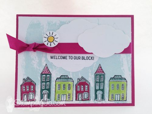 Welcome card using In the City Host stamp set from Stampin Up, Watercolor Wash background stamp and Pretty Label Punch