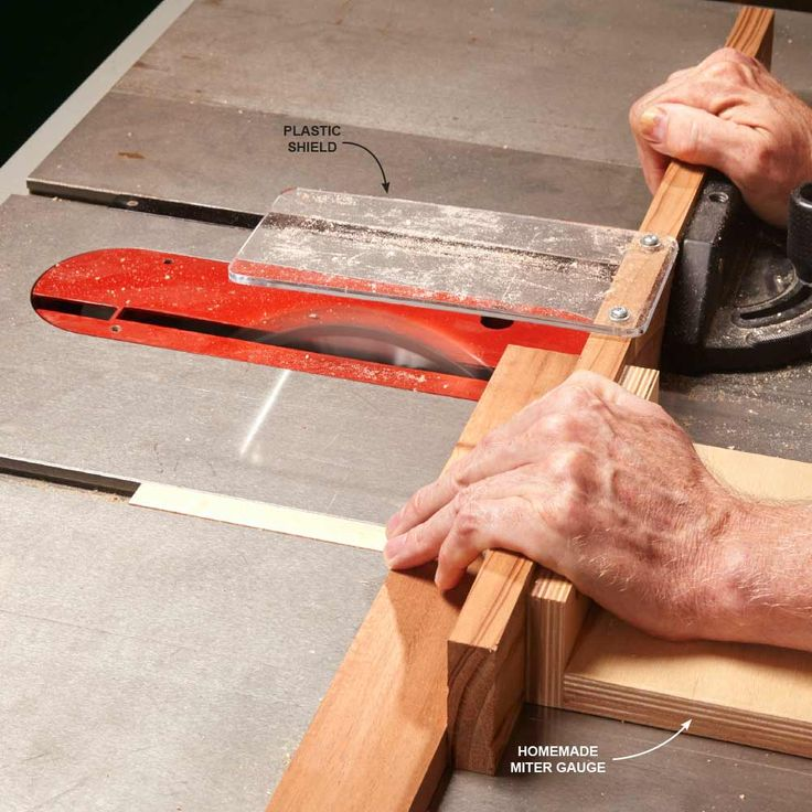 No-Wiggle Table Saw Crosscuts - If your miter gauge's bar wiggles in the saw's miter slot, you'll have a hard time getting an absolutely straight crosscut. Here's a way to fix that: Use two miter gauges connected by a fence.An extra miter gauge isn't very expensive, but you can cut the cost to zero by making one yourself. Glue two pieces of Baltic birch plywood together to form an L-shape body, then carefully cut a bar to fit snugly into your saw's miter slot. Use a piece of maple to make…